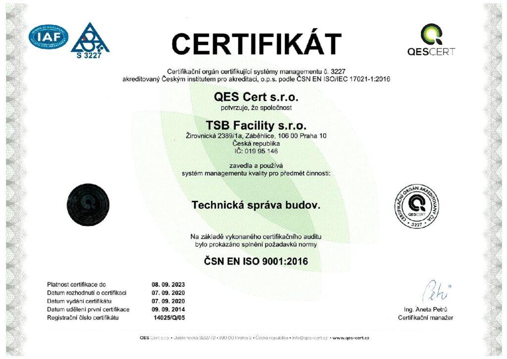 Certifikát jakosti TSB facility